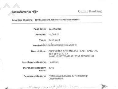 Molina Healthcare - Unauthorized withdrawl of $1066.02