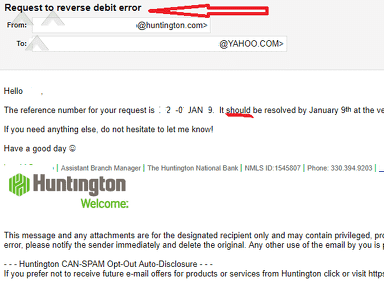 Huntington Bank - Someone Else's Check Deducted From MY Account-TWICE!