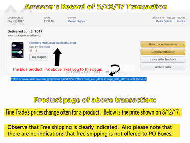Amazon - Fine Trade's Charged $89-$200+ Shipping for $11 Product!