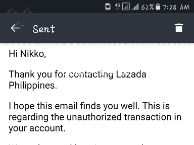 Lazada Philippines - Fraud transaction na hindi pa nababalik sa account ko