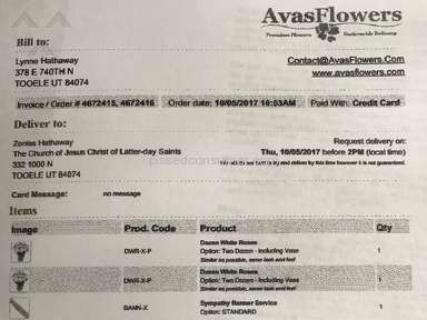 Avasflowers - Failure to Deliver, No resolution from Customer Service