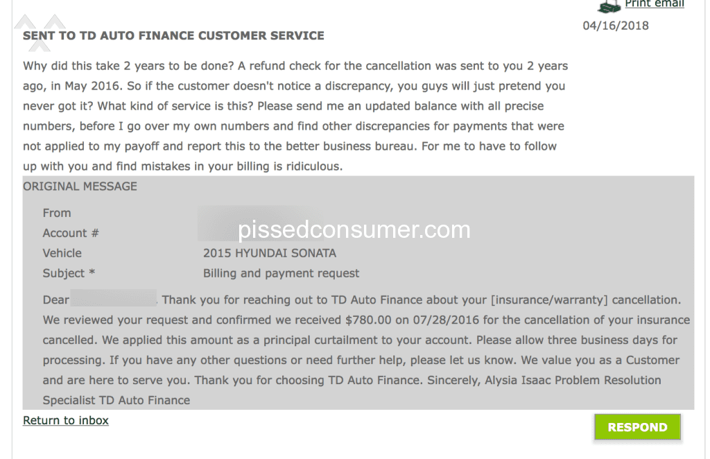 td auto finance payoff address 121 Td Auto Finance Auto Loan Reviews and Complaints @ Pissed Consumer