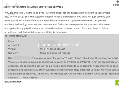 Td Auto Finance - Billing - they finally admitted they didn't send correct balance 2 years later