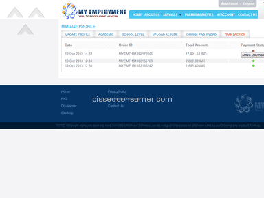My Employment Services India - Myemployment.co.in - myemployment.co.in is a FRAUD website making fools to job seekers