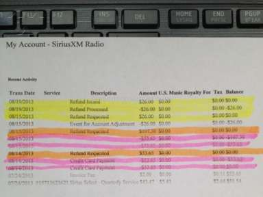 Sirius Xm Radio - Over charging my account and refusing to give back my money!