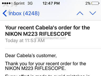 Cabelas - Customer Care Review from Mineral, Virginia