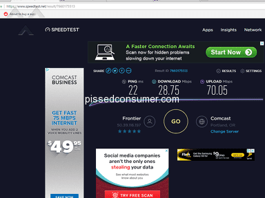 Frontier Communications - SLOOOOOOOW internet speeds...crap service
