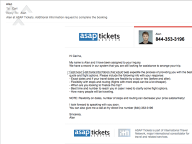 Asap Tickets - Don't give them your details - ever!