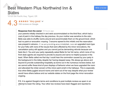 """Best Western - Worst experience """"Look at the picture what the manger have replied"""""""