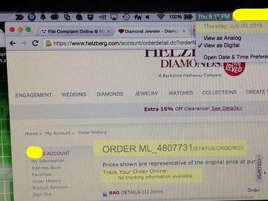 Helzberg Diamonds - 10 Days- No Tracking or Confirmation Number, No Deliver Date Promised/ Will Not Let Me Cancel Order. Holding Money