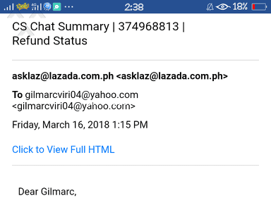 Lazada Philippines Customer Care review 280338