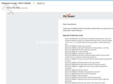 An injustice behavior of payoneer customer support