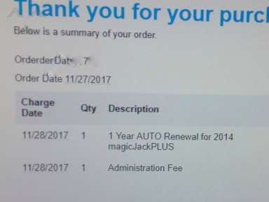 "MagicJack charged my ""renew"" without consent nor auto-renewal !!!!"