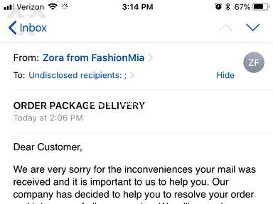 Fashionmia Shipping Service review 320106