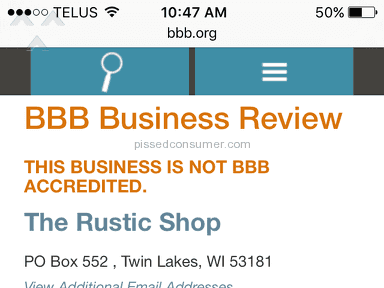 The Rustic Shop Customer Care review 151206