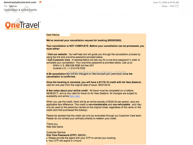 "Onetravel - ""Not always affordable, but if you cancel - watch out (you'll get a Double random rate)!"""