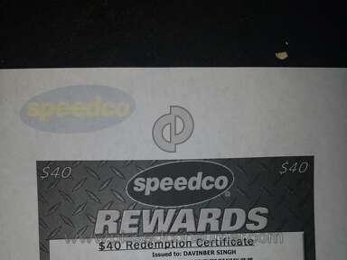 Speedco - Reward point ceetificate