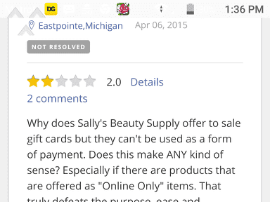 Sally Beauty Supply - Sally's Refuse to accept their own gift card