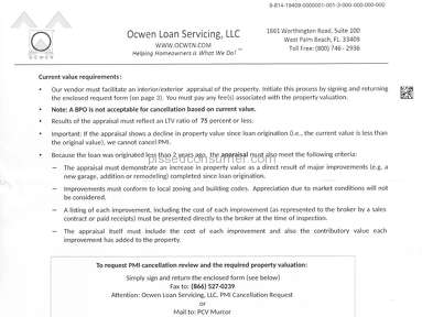 "Ocwen - PMI Cancellation Request ""Bait and switch"""
