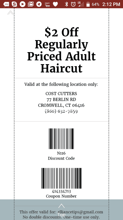 Cost Cutters - Refusal to accept coupon with location address