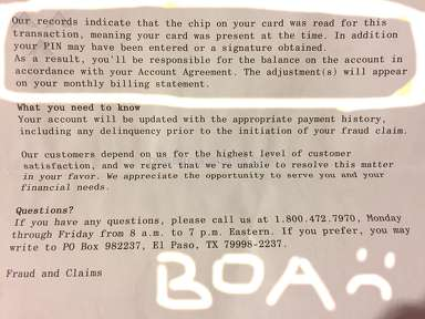 Bank Of America - BOA fails to protect customer from real fraud case