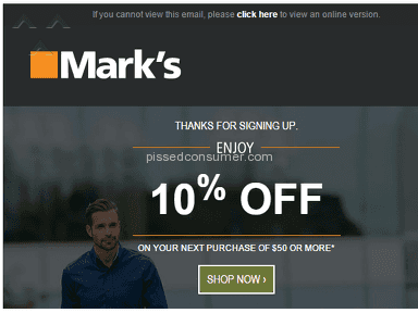 Marks Work Wearhouse - 10% Sign-up Discount Refused--Email complaint line goes dead