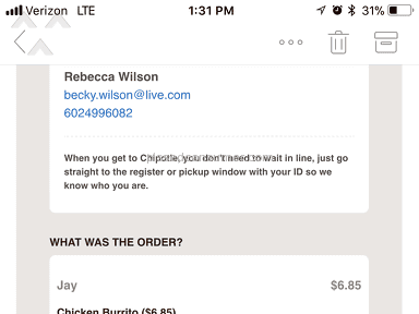 Chipotle - Did not receive my online order and was still charged