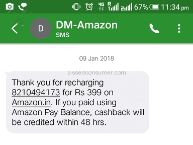 Amazon - Ihave  not received Cashback