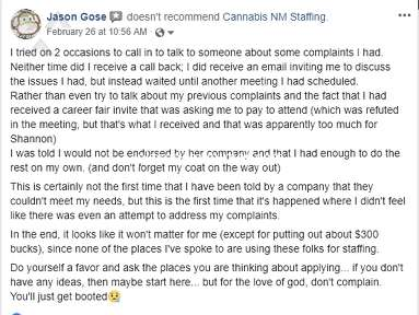 Cannabis NM Staffing - Legal Threats over my posts about my experience
