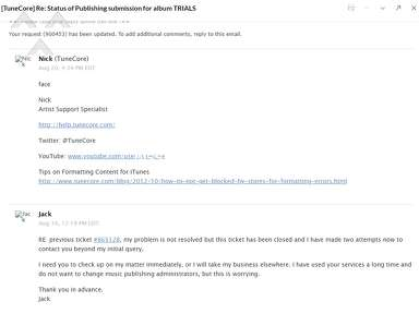 Tunecore - Publishing administration lack of support
