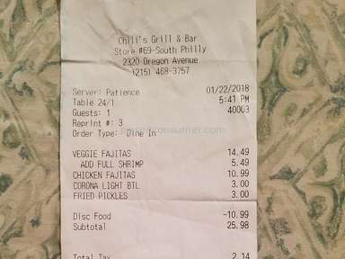 Chilis - Very Poor Service and fear for life