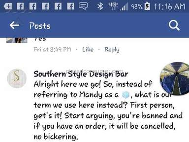 Southern Style Design Bar - This company bully's its customers