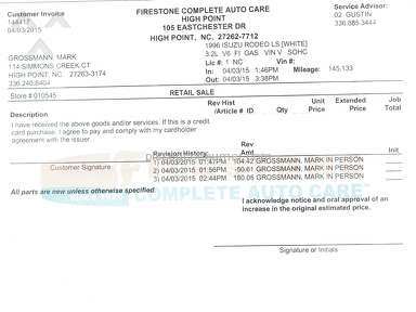 Firestone Complete Auto Care Belt Replacement review 159052