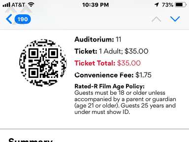 Amc Theatres - AMC 2019 Best Picture Showcase- purchased tickets for four movies-only showed one (Vice)