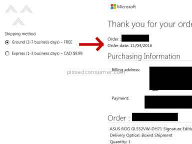Microsoft Online Store - Shipping Times are a LIE