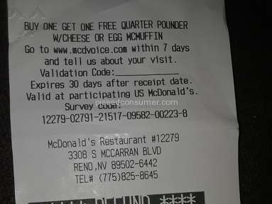 Mcdonalds - I was told I would be refunded due to horrible service .
