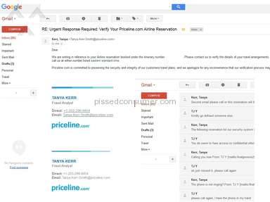 """fraud review"" email/call harassment from priceline when credit card name matches plane ticket holder name, Priceline cancelled ticket no refund"
