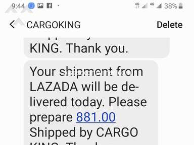 Lazada Philippines Cargo King Delivery Service review 384510