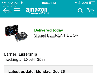 Lasership - Amazon item not delivered as stated