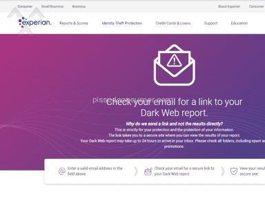 Experian - The free deep email web scan does not work