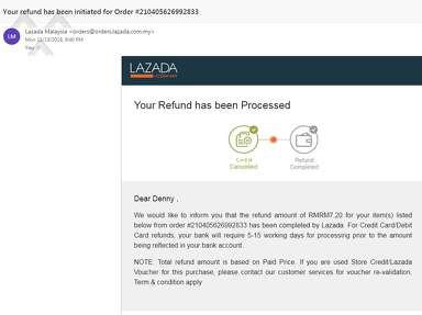 Lazada Malaysia - Order got canceled for no reason