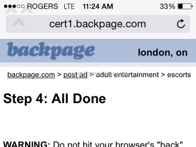 Backpage - Advertisement Review from London, Ontario