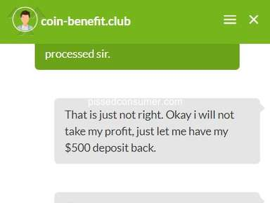 Coin Benefit Club - Pending withdrawals