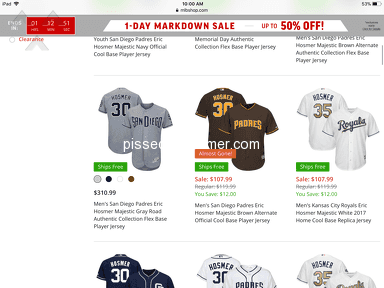 Mlb Shop - Doesn't honor sale prices!,