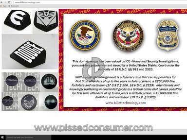 Billet Technology website seized for trademark infringement.