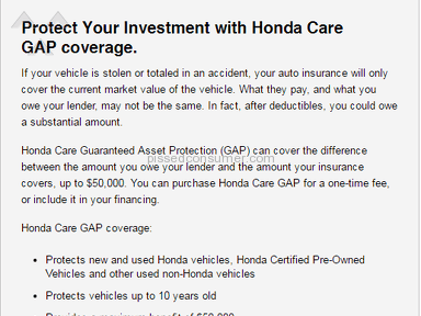 Honda Financial Services - GAP insurance offered by Honda Financial