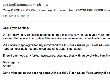 Lazada Philippines Customer Care review 285246
