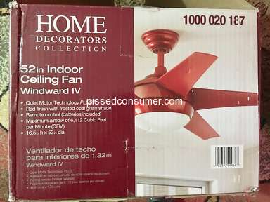 Home Decorators Collection - DEFECTIVE HOME DECORATIONS COLLECTION CEILING FAN HAD THE MOTOR DIE FOUR MONTHS AFTER INSTALLING IT