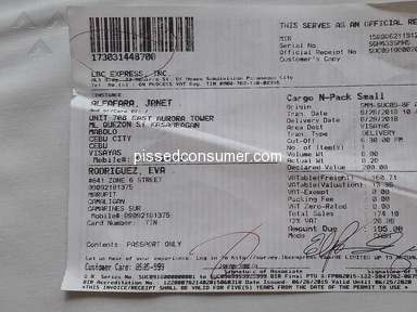 LBC Express - Wrong address printed on Receipt of Consignee