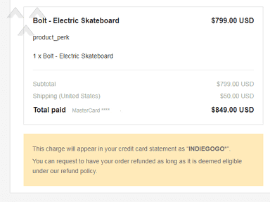 Bolt Motion - Wasted $849 for skateboard I can't return back due to dangerous goods; horrible customer service and late responses.